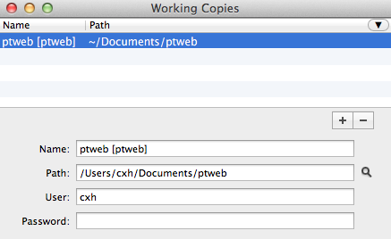 Select the working copy, in this case ptweb